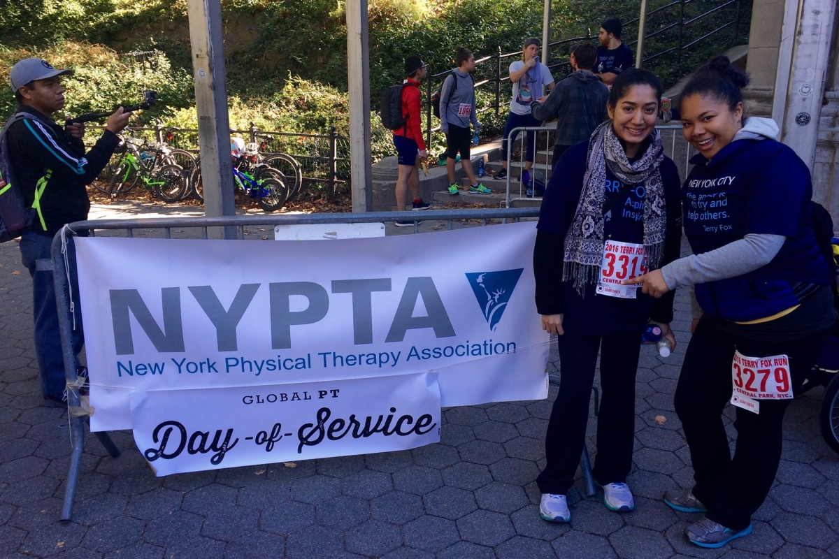 A SPEAR Physical Therapist volunteers for the New York Physical Therapy Association's Day of Service in Manhattan's Central Park