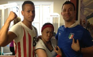 Edwin, Meg and Joe in Sports gear