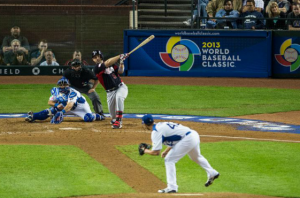 Team USA's David Wright at bat against Italy, March 9, 2013