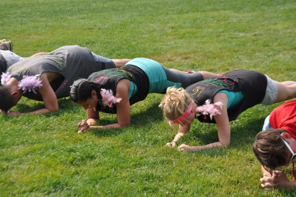 16th Street's Jason Kang, Erica Rosa, and Lisa Yirce during our planking competition.