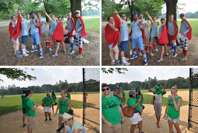 "84th Street's ""Underdog"" team costumes and 44th Street's ""T-Rex"" team costumes."