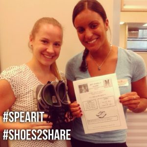 Amelia Rivera collecting new or used shoes for a charity named Shoes 2 Share
