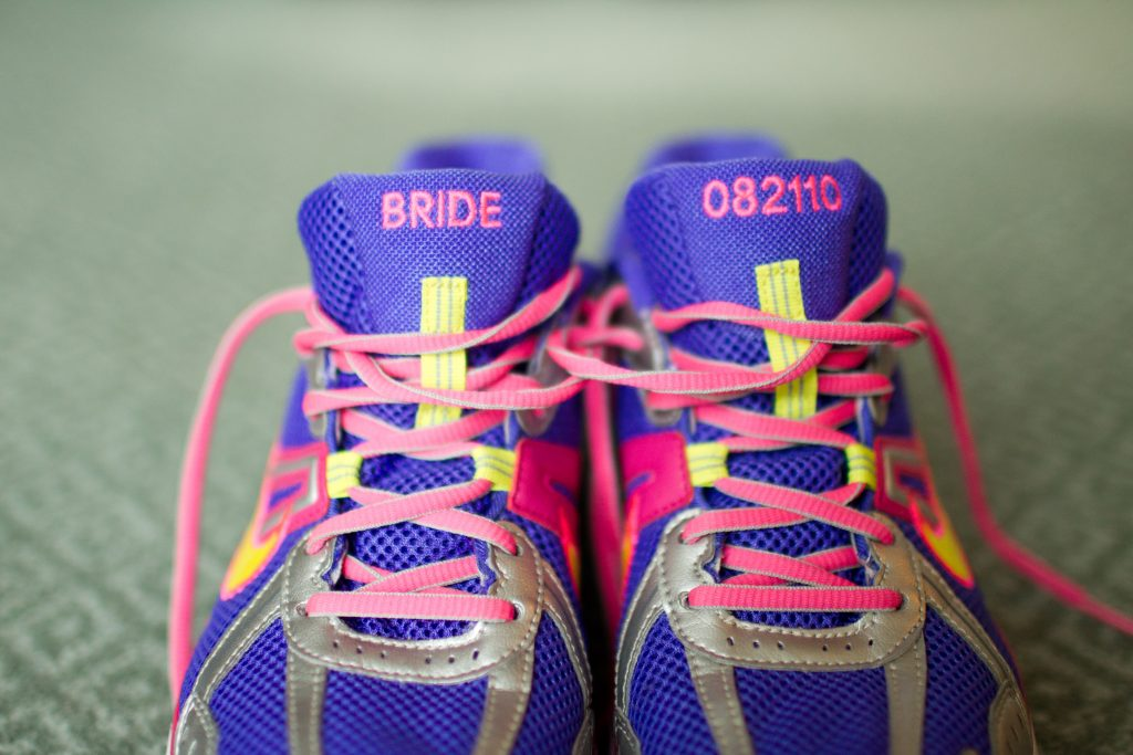 "Elizabeth's ""Bride"" running shoes, designed for her by then-fiancé Adam."