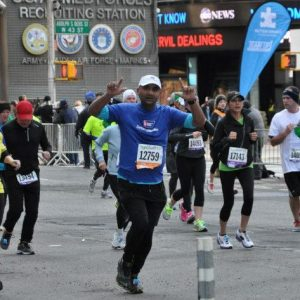 Vishal running NYC half marathon in 2013