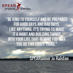 Jo Ralston Quote: Be kind to yourself and be prepared for good days and bad days. Like anything, it's trying to make it a habit and building things into your life that remind you why you do this crazy thing.