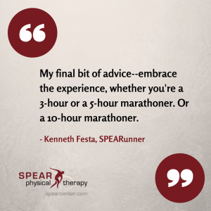 NYC Marathoner runner and SPEAR Physical Therapy NYC patient Kenneth Festa