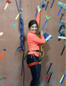 Rebecca Genter in climbing gym