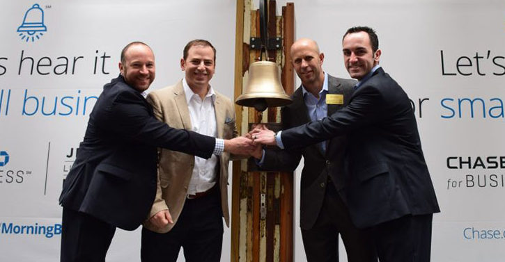 Amir Rand (Clinical Director, Financial District), Dan Rootenberg (President & CEO, Dave Endres (Co-Founder) and Ryan Kitzen (Director of Operations) ringing the bell during Small Business Week, Chase Bank at the New York Stock Exchange