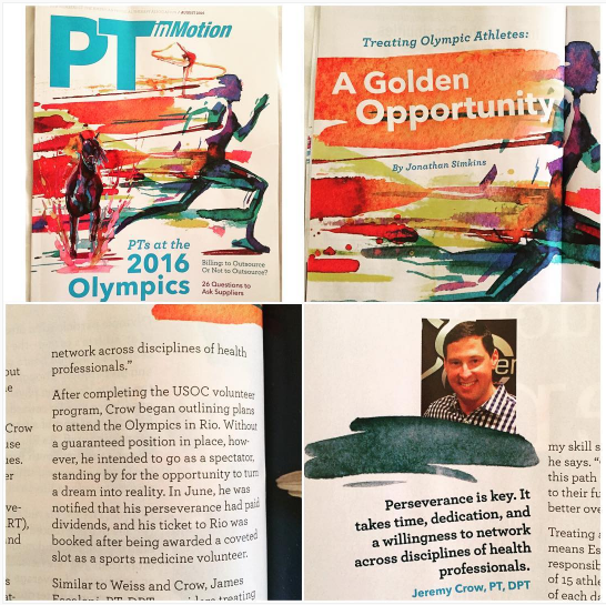 SPEAR Physical Therapy's Director of Clinical Education featured in PT In Motion magazine for treating Olympic Athletes