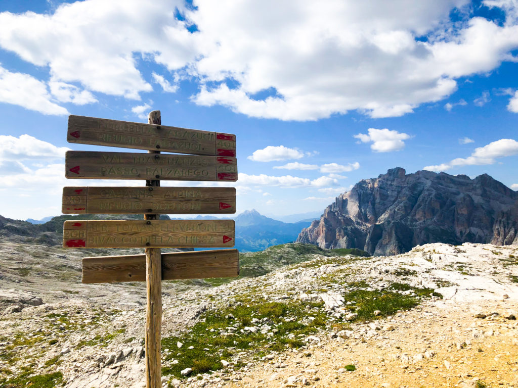 Trail sign on an italian mountain