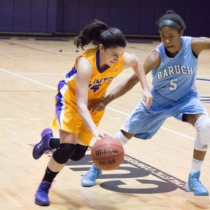 Kristen Markoe playing for the Hunter College Women's basketball team.