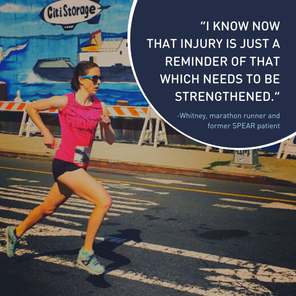 "A former injured patient running outside on pavement with the quote "" I know now that injury is just a reminder of that which needs to be strengthened."""
