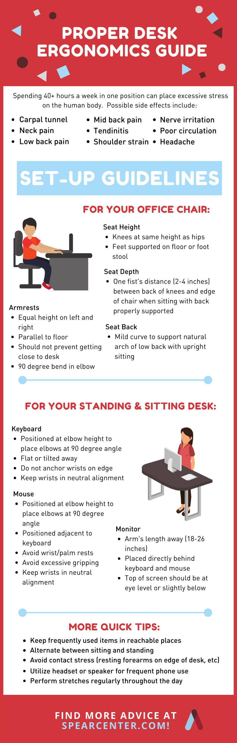 infographic for proper desk set up to prevent aches and pains