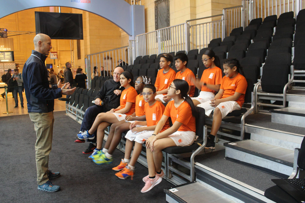 PT Dave Endres with a group of young squash athletes at an injury prevention screening