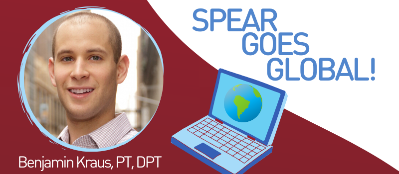 Ben Kraus, nyc physical therapist at SPEAR, in banner image with laptop and a globe on it